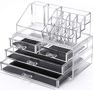 Sooyee Makeup Organizer 2 Pieces Clear Acrylic Jewelry and Cosmetic Storage Display Boxes with 4 Drawers 4 Tier