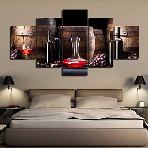 Wslin Hd gedrukt 5 stuks canvas kunst wijnglas canvas rode wijn oude vat druiven en wijnfles kunst foto wandafbeeldingen afdrukken op canvas 150X80cm