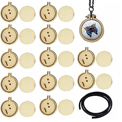 dancepandas Mini aro de Bordado 30PCS 2.5cm Aro de Bordado de Madera Redondos Aro de Punto de Cruz Mini Bastidores para Bordados para DIY Colgante de Collar de Punto de Cruz