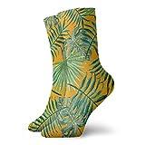 Be-ryl Hojas de Palmera Tropical y helechos en el Arte Naturaleza Familia Almohada de Palma Naranja Calcetines para Hombres y Mujeres Calcetines Casuales 30CM