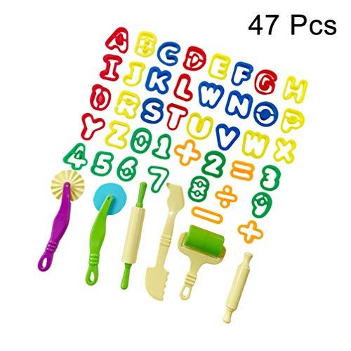 Healifty Deeg Klei Mal Set Geassorteerde Kleuren Spelen Doh Gereedschap Playdough Accessoires Playdough Speelgoed Voor Kinderen Jongens Meisjes Thuis (47 Stuks)