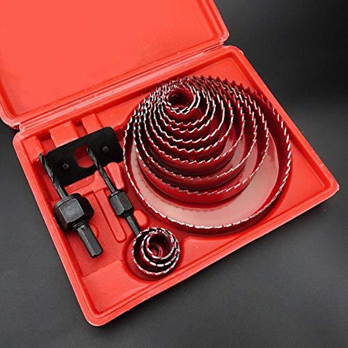 13 Stks/partij DIY Wook Hole Saw Boor Set voor PVC/Hout/Gipsplaat 19mm ~ 127mm Diepte:20mm Rood