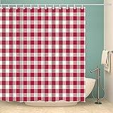 Duschvorhang 180X200 Rot Weiß Kariert Duschvorhang Anti-Schimmel & Wasserabweisend Shower Curtain, Duschvorhänge mit 12 Haken,Duschvorhang Textil Waschbar,Polyester