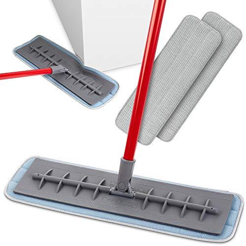 Tyroler Bright Tools Mopa de Microfibra para Usar Seca y Húmeda (45 cm de Ancho) Cabeza de Silicona Flexible | Limpieza Profesional del Hogar para Suelo de Madera, Laminado, Baldosas, Cocina, Baño