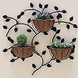 LHLYL-DP An der Wand montiertes Pflanzenregal, kreativer Blumenständer, hängende Zweigform Metallpflanzenständer, Pflanzbalkon Innenwanddekorationsrahmen (3 Körbe),Schwarz