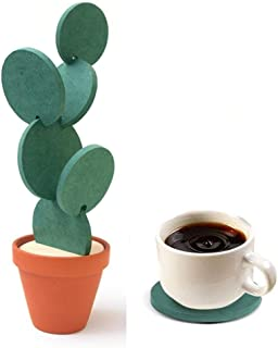 Nioslier Coasters Creative Cactus Shaped Design Set of 6 Pieces for Home Office Decor