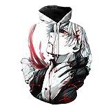 CHENMA Hommes Sweat-Shirt à Capuche avec imprimé Fantaisie Tokyo Ghoul avec Poche Kangourou