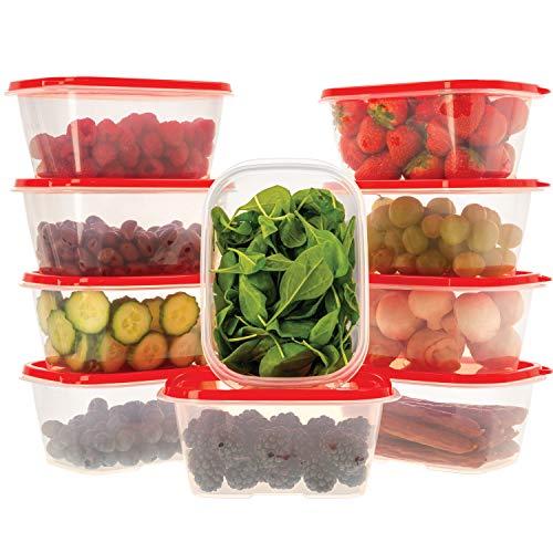 Oursson Frischhaltedosen Set aus BPA-freiem Plastik, Vorratsdosen-Sets, mit roten Deckeln, Lunchbox, CP11083-1S/RD (10x1 L, Rot)