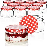 COM-FOUR® 12x tarros de albañil con tapón de rosca a cuadros rojo/blanco - hasta Ø 82 mm - hasta 250 ml