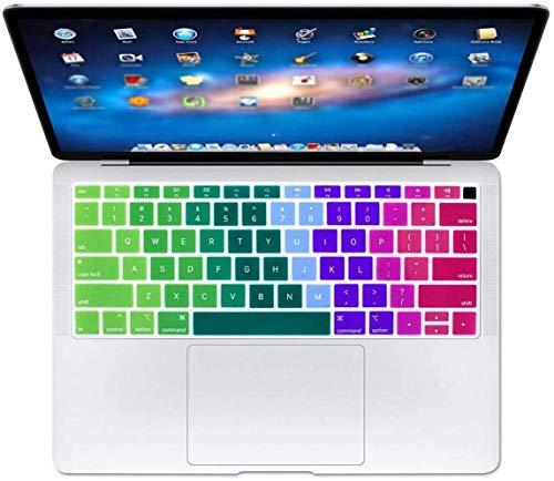 Who-Care Engels Taal Toetsenbord Cover Voor Macbook Voor Air 13 2018 Water Stofbestendig Geleidelijke Wijziging Kleuren, Gradient 134 size Regenboog