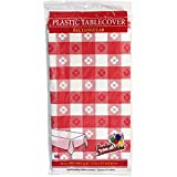Party Dimensions 54' X 108' Inch Rectangle Tablecover, Red and White, Gingham Pattern