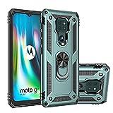 MOONCASE Moto G9 Play Coque, Étui Hybride Antidérapant 2 en 1 PC + TPU Armure Robuste avec...