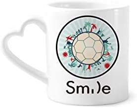 cold master DIY lab Earth Trees Soccer Football Sports Smile Pattern Mug Cup Pottery Heart Handle