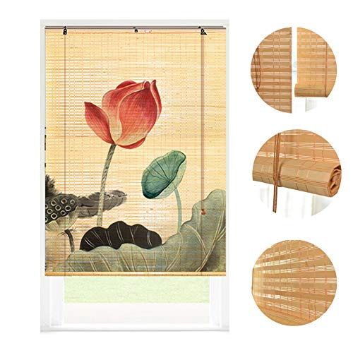 LIANGJUN Rollo Bambus Bambusrollo Vorhang Raffrollos, Filtro Luce Protezione Solare Ventilazione Partizione Parete di Fondo Stile Giapponese Casa Giardino Terrazza Tempio