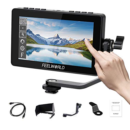 Feelworld F5 PRO 5 Pollici On Camera Field Monitor DSLR Small Full HD 1920x1080 IPS Video Peaking Focus Assist con 4K HDMI 8.4V DC Input Output Includono Tilt Arm…