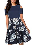 oxiuly Women's Casual Pockets Floral Flare Patchwork Party Cocktail Swing Midi Dress OX266 (M, Navy Blue)