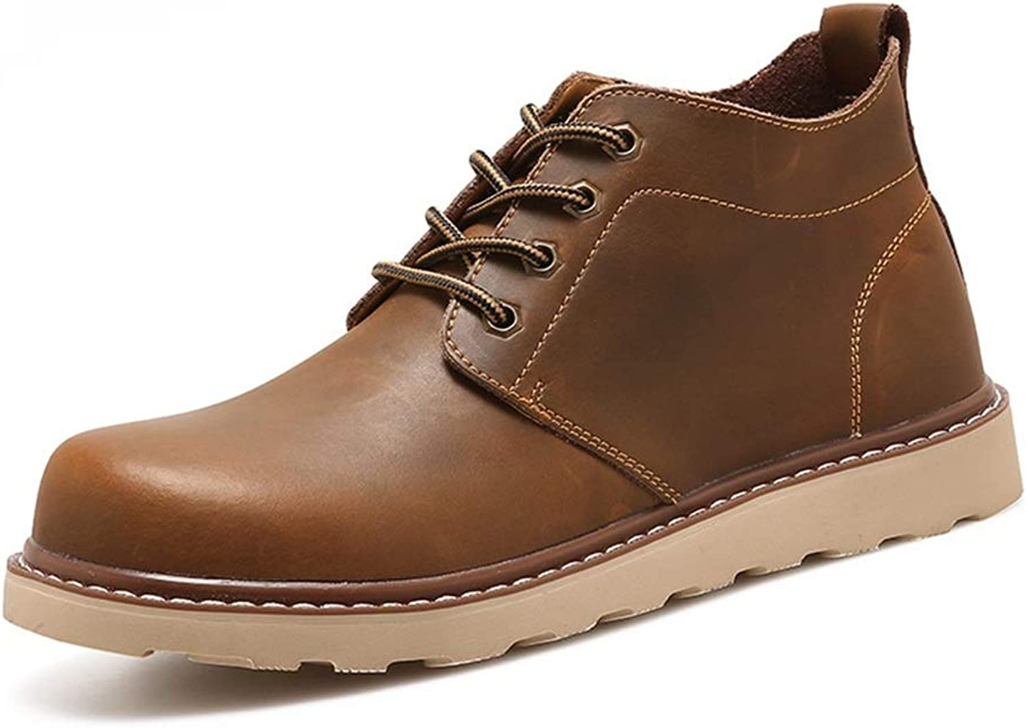 ZHRUI Mens Classic Ankle Boots Soft Sole Non Slip Waterproof Comfort Chukka Boots (color   Brown, Size   UK 5.5)