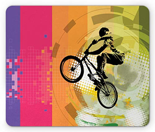 BMX,Extreme Cycling on Abstract Circles and Halftone Background with Stripes Sports Theme, Customized Gaming Personalized Design Desktop Computer Notebook Non-Slip Square Rubber Mouse Pad