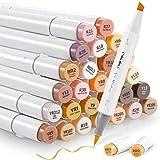 Set di 36 pennarelli a base di alcool per la tonalità della pelle, pennello e scalpello, per arte Sketch, a base di alcol per bambini e adulti, illustrazione, tonalità media della pelle