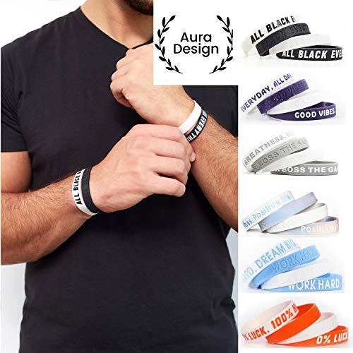 Aura Design Armband für Damen & Herren | Armbänder Sportarmband | Silikonarmband | Fitness Armband | 4 Armbänder (Schwarz & Weiß)