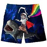 Funnycokid Astronaut Cat Swim Trunks Boys Girls Shark Swimsuits Kids Shorts Beach Wear Summer UPF 50+ 8-10 Year Old