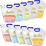 SurVivv Premium Collapsible Water Container Bag, No-Leak, Freezable, Odorless, Flat Folding, BPA Free Food Grade Clear Plastic Storage tank for Sports Outdoors Camping Hiking Backpack (1.3 Gal 10Pk)
