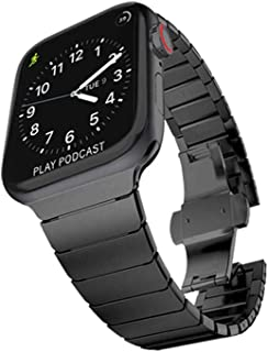 Applewatch ベルト アップルウォッチ 交換 バンド メンズ かっこいい ステンレス Series 5 / 4 / 3 / 2 / 1 対応 (42mm / 44mm ブラック)305