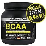 GloryFeel BCAA 330 Cápsulas - 9.910mg de BCAA por dosis diaria - Aminoácidos esenciales Leucina, Valina e Isoleucina + Vitamina B6 - Probado en laboratorios y sin aditivos - Fabricado en Alemania