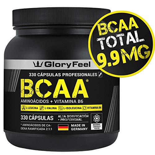 GloryFeel® BCAA 330 Cápsulas - 9.910mg de BCAA por dosis diaria - Am