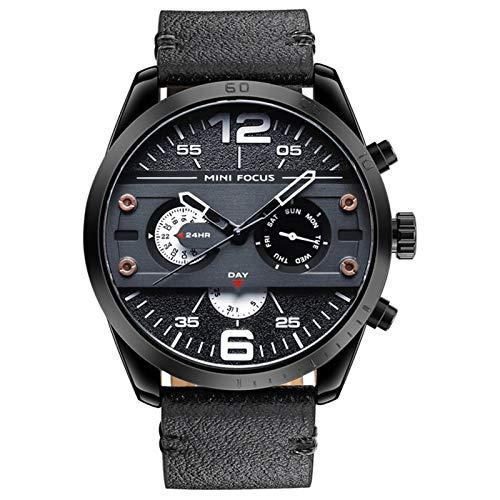 JTTM Relojes para Hombres, Analógico De Cuarzo Reloj Impermeable Deportivo Cronógrafo Correa De Cuero Fecha para Regalo,Black and White