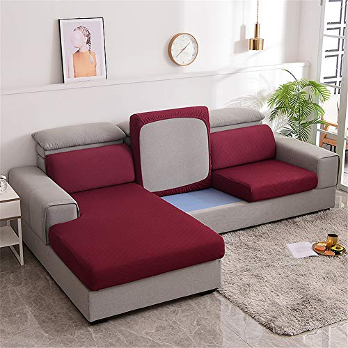 XDKS Fundas de cojín para sofá, fundas de cojín para cojines individuales, fundas de cojín elásticas Jacquard (1 plaza), color rojo
