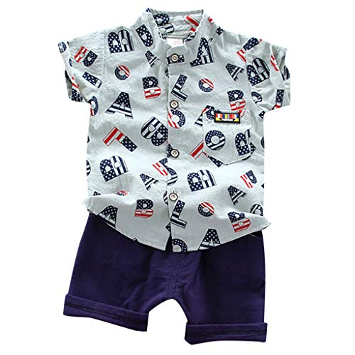 wuayiLittle Baby Boys Summer Clothes Set American Flag Alphabet Soft Button Shirt Shorts Outfits