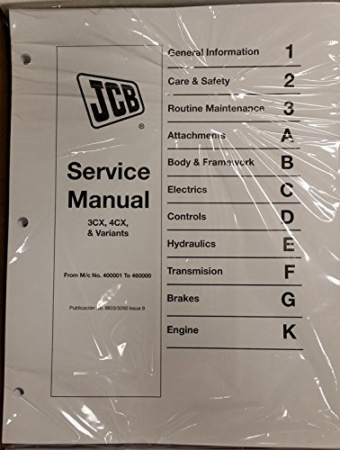 Jcb 3CX, 4CX, 214, 214E, 215, 217 Backhoe Loader Workshop Repair Service Manual - Part Number # 9803/3260