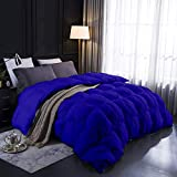 All-Season Goose Down Pinch Pleated Comforter 100% Egyptian Cotton 1000-TC Corner Tebs Hypoallergenic Wrinkle & Fade Resistant Box Pintuck Comforter Set 94X104 King/Cal-King Size Royal Blue Solid