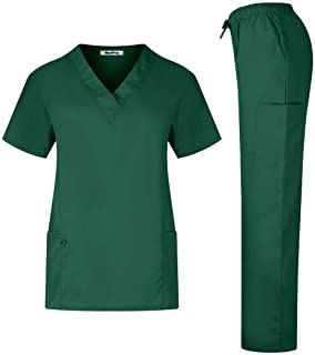 MedPro Women's Solid Medical Scrub Set V-Neck Top and Cargo Pants Hunter Green L
