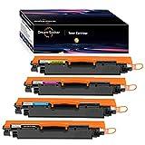 Dream-seeker Compatible con HP 126A 130A CE310A CE311A CE312A CF350A CF351A Cartuchos de Tóner para HP Laserjet Pro CP1025NW HP Color Laserjet Pro M177fw MFP M176n(4 Paquetes)