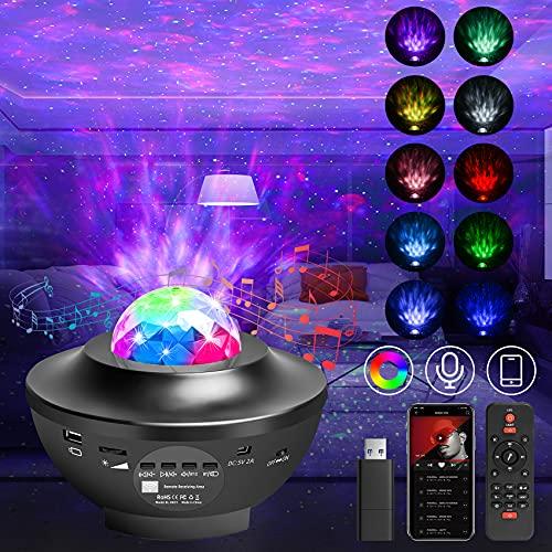 Sternenhimmel Projektor, Stern Projektor LED Galaxie Nachtlicht Sternlicht Zeanwellen Musikspieler mit Fernbedienung/Bluetooth/Timer/Lautsprecher Für Geburtstagsfeier Hochzeit Schlafzimmer Wohnzimmer