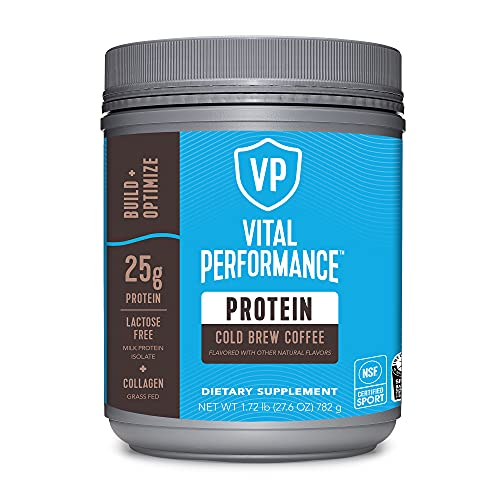 Vital Performance Protein Powder, 25g Lactose-Free Milk Protein Isolate Casein & Whey Blend, NSF for Sport Certified, 10g Collagen Peptides, 8g EAAs, 5g BCAAs, Gluten-Free - Cold Brew Coffee, 1.72lb