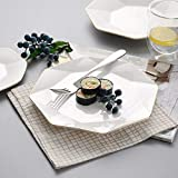 WHWH Nordic Simple Fresh Bone China Flat Plate Dinner Plate Household Steak Plate-8 Inches