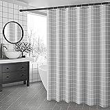 SimpleHome Schöner Grauer Duschvorhang 180x200 cm, Anti Schimmel & Wasserdichter Vorhang mit 12 Duschvorhangringen. Waschbarer Polyester Badewannenvorhang, Duschvorhang grau