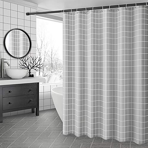 SimpleHome Schöner Grauer Duschvorhang 180x180 cm, Anti Schimmel & Wasserdichter Vorhang mit 12 Duschvorhangringen. Waschbarer Polyester Badewannenvorhang, Duschvorhang grau
