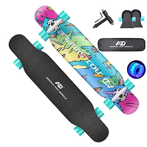 Freestyle skateboard longboard skateboard 107 cm lång x 25 cm bred kortlek lönn dansande longboard för vuxna, pojkar/flickor/tonåringar max 199 kg, standard skateboards, A