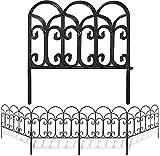 Amagabeli Palizzata in Metallo Recinzione Giardino 5 Recinti Pannelli da 46 x 46 cm Design Bello Robusto e Affidabile Resistente Staccionata Esterne in Acciaio Nero