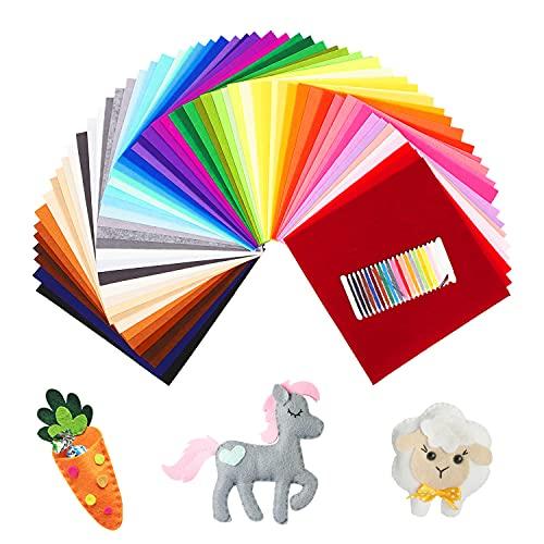 SOLEDI Feltro Colorato Feltro in Fogli 60 Colori 30 * 30 cm Feltro e Pannolenci Usato per DIY Mestieri Protezione Ambientale, Sicura e Non Tossica con Bobina di Filo Tre Dimensioni