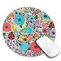 マウスパッド マウスパット 円形 PCマット Mouse Pad デスクマット 花柄 和風 デスクトップパソコン ノートパソコン ラップトップマット ゲーミング オフィス用 ゲーム用 柔らかい 耐久性 レーザー 光学マウス対応