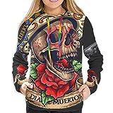 Der Hoodie der Frauen Vektor-Illustration des Tages des Toten Schädels mit Fahnen-Rosen und Revolver, M-Sweatshirt
