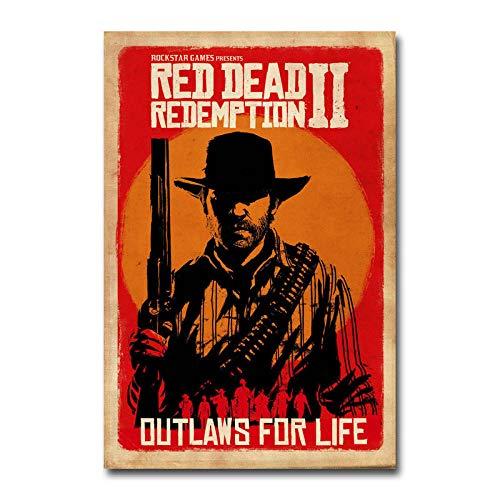 cgsmvp Red Dead Redemption 2 Spiel Leinwand Poster Wandkunst Druck Gemälde dekorative Wandbild für Wohnzimmer/50x75cm-kein Rahmen