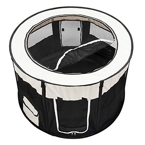 TANKE Cerca de Parque para Mascotas de Tela Oxford 600D Plegable portátil Circular de 45 Pulgadas con Ocho Paneles Negros, Que Brinda a Las Mascotas Suficiente Espacio para Jugar...