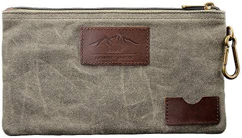 All Purpose Utility Zipper Pouch EDC Organizer Water Resistant Durable Waxed Canvas with Full product image