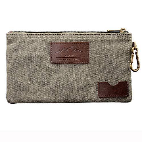 All Purpose Utility Zipper Pouch, EDC Organizer, Water Resistant, Durable Waxed Canvas with Full Grain Leather, Carabiner, Inner Pockets, Office Work Essentials, Charger Case, Pencil Case. Olive.
